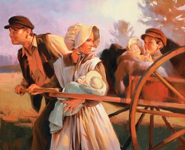 Handcart Pioneer por Sam Lawlor. Imagem via LDS.net.