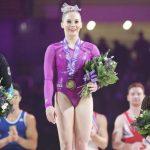 Mykayla Skinner fica em primeiro lúgar na competição Glasgow.