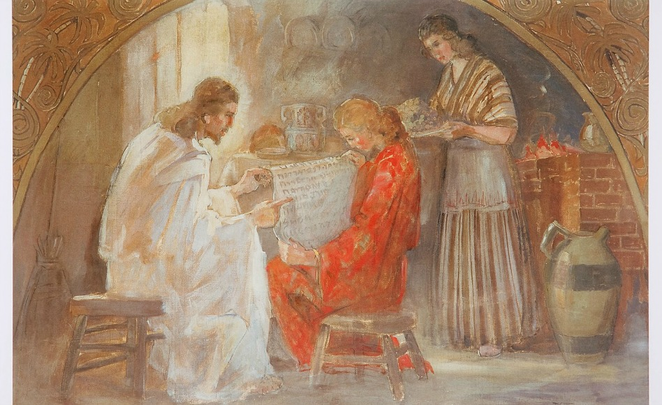 Jesus na casa de Maria e Marta, de Minerva Teichert - Colocar Cristo em primeiro lugar