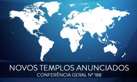 Novos templos anunciados na conferência de outubro de 2018