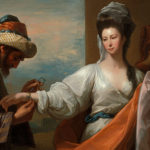 Pintura de uma mulher recebendo uma pulseira
