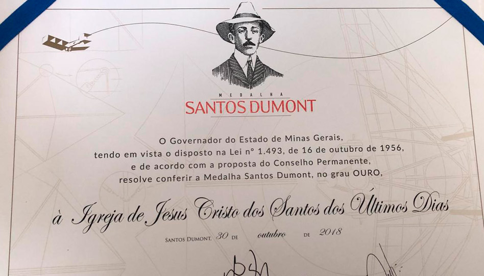 Igreja de Jesus Cristo recebe Medalha Santos Dumont em Minas Gerais